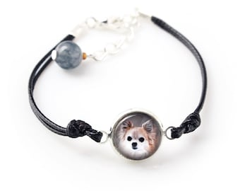 Chihuahua long haired. Bracelet for people who love dogs. Photojewelry. Handmade.