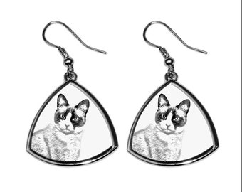 Snowshoe, collection of earrings with images of purebred cats, unique gift. Collection!