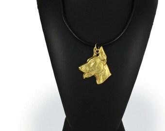Doberman Pinscher (toungue), millesimal fineness 999, dog necklace, limited edition, ArtDog