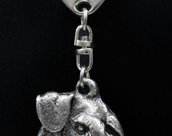 Schnauzer (uncropped), dog keyring, keychain, limited edition, ArtDog . Dog keyring for dog lovers
