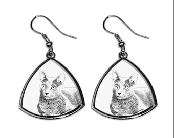 Russian Blue, collection of earrings with images of purebred cats, unique gift. Collection!