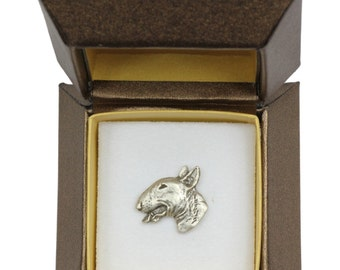 NEW, Bull Terrier (head), dog pin, in casket, limited edition, ArtDog