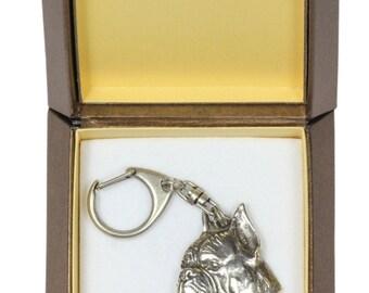 NEW, Boxer (toungue&pointed ears), dog keyring, key holder, in casket, limited edition, ArtDog . Dog keyring for dog lovers