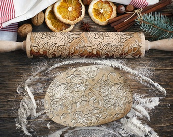 Engraved rolling pin. Original shape. FLOWERS 2 pattern. Laser Engraved for cookies. Decorating roller