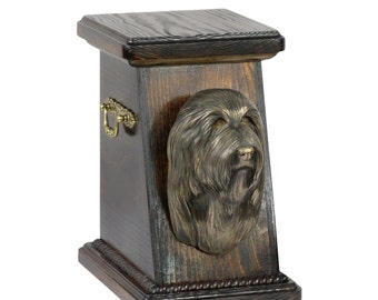 Urn for dog's ashes with a Bearded Collie statue, ART-DOG Cremation box, Custom urn.