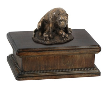 Exclusive Urn for dog's ashes with a Staffordshire Bull Terrier mama statue, ART-DOG. New model Cremation box, Custom urn.