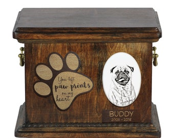 Urn for dog's ashes with ceramic plate and description - Pug, ART-DOG Cremation box, Custom urn.
