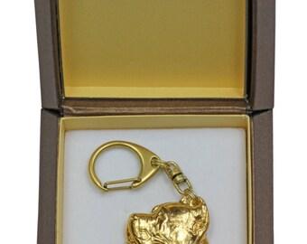 NEW, Cane Corso, Italian mastiff, millesimal fineness 999, dog keyring, in casket, keychain, limited edition, ArtDog