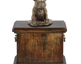 Urn for dog's ashes with a Staffordshire Bull Terrier statue, ART-DOG Cremation box, Custom urn.