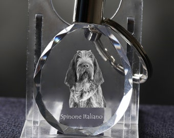 Spinone Italiano   , Dog Crystal Keyring, Keychain, High Quality, Exceptional Gift . Dog keyring for dog lovers