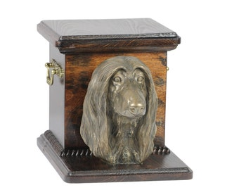 Urn for dog's ashes with a standing statue - Afghan Hound, ART-DOG Cremation box, Custom urn.