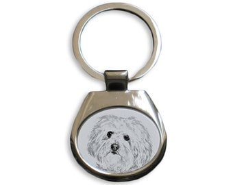 Bolognese - NEW collection of keyrings with images of purebred dogs, unique gift, sublimation . Dog keyring for dog lovers