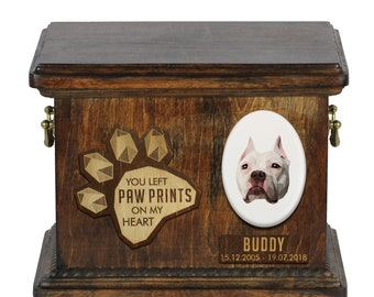 Urn for dog ashes with ceramic plate and sentence - Geometric American Pit Bull Terrier, ART-DOG. Cremation box, Custom urn.