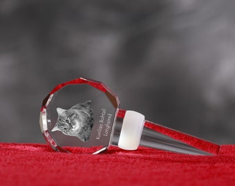 Kurilian Bobtail Longhaired, Crystal Wine Stopper with cat, Wine and Cat Lovers, High Quality, Exceptional Gift. New Collection