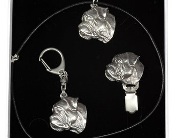 NEW, Bullmastiff, dog keyring, necklace and clipring in casket, ELEGANCE set, limited edition, ArtDog . Dog keyring for dog lovers