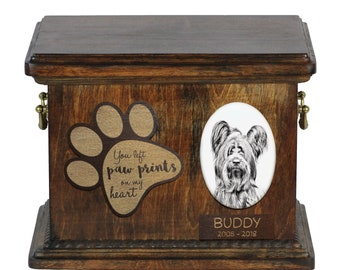 Urn for dog's ashes with ceramic plate and description - Skye Terrier, ART-DOG Cremation box, Custom urn.