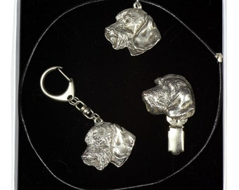 NEW, Tecker Wirehaired, dog keyring, necklace and clipring in casket, ELEGANCE set, limited edition, ArtDog . Dog keyring for dog lovers