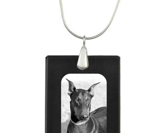 Dobermann, Dog Crystal Pendant, SIlver Necklace 925, High Quality, Exceptional Gift, Collection!