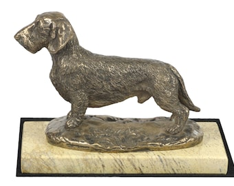 Dachshund Wirehaired, dog sand marble base statue, limited edition, ArtDog. Made of cold cast bronze. Perfect gift. Limited edition