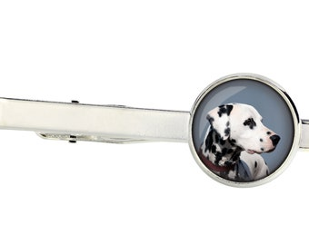 Dalmatian. Tie clip for dog lovers. Photo jewellery. Men's jewellery. Handmade