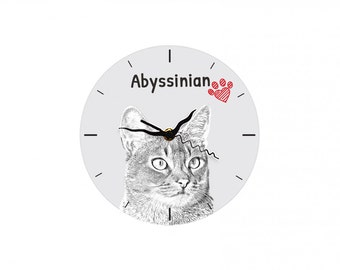 Abyssinian cat, Free standing MDF floor clock with an image of a cat.
