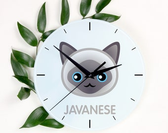 A clock with a Javanese cat. A new collection with the cute Art-Dog cat