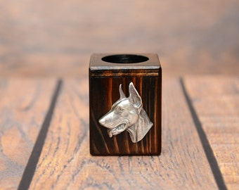 Dobermann - Wooden candlestick with dog, souvenir, decoration, limited edition, Collection