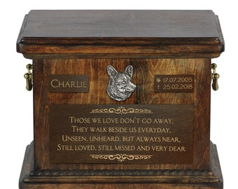 Urn for dog's ashes with relief and sentence with your dog name and date - Welsh Corgi, ART-DOG. Cremation box, Custom urn.