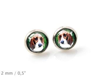 Basset Hound. Pet in your ear. Earrings. Photojewelry. Handmade.