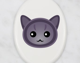 A ceramic tombstone plaque with a Korat cat. Art-Dog cute cat
