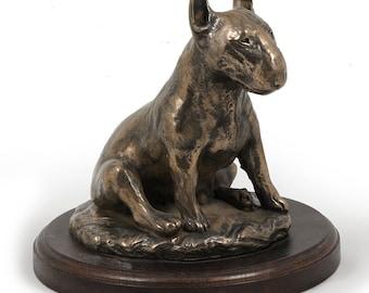 Bull Terrier (sitting), dog wooden base statue, limited edition, ArtDog