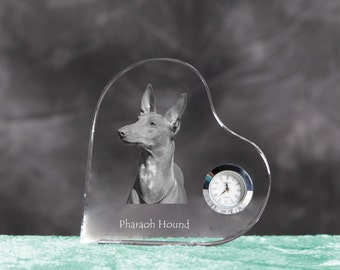 Pharaoh Hound- crystal clock in the shape of a heart with the image of a pure-bred dog.