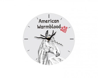 American Warmblood, Free standing MDF floor clock with an image of a horse.
