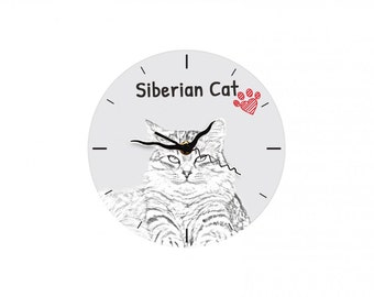 Siberian cat, Free standing MDF floor clock with an image of a cat.