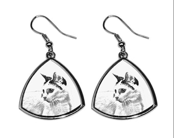 Japanese Bobtail, collection of earrings with images of purebred cats, unique gift. Collection!