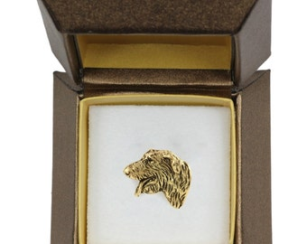 NEW, Irish Wolfhound, dog pin, in casket, gold plated, limited edition, ArtDog