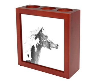 American Paint  Wooden stand for candles/pens with the image of a Horse ! NEW COLLECTION!
