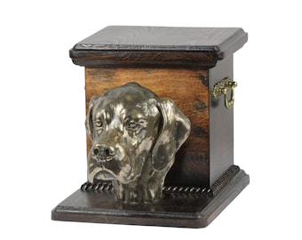 Urn for dog's ashes with a standing statue -English Pointer, ART-DOG Cremation box, Custom urn.