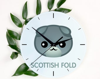 A clock with a Scottish Fold cat. A new collection with the cute Art-Dog cat