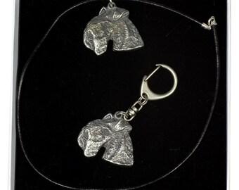 NEW, Lakeland Terrier, dog keyring and necklace in casket, ELEGANCE set, limited edition, ArtDog . Dog keyring for dog lovers