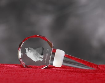 Himalayan Cat, Crystal Wine Stopper with cat, Wine and Cat Lovers, High Quality, Exceptional Gift. New Collection