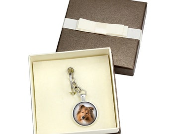 Collie. Keyring, keychain with box for dog lovers. Photo jewellery. Men's jewellery. Handmade.