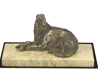 Borzoi, Russian Wolfhound , dog sand marble base statue, limited edition, ArtDog. Made of cold cast bronze. Perfect gift. Limited edition