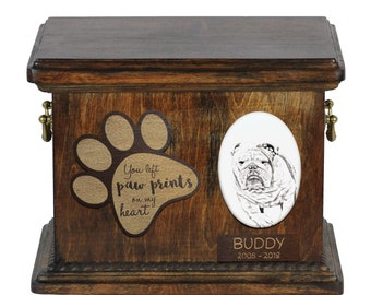 Urn for dog's ashes with ceramic plate and description - English Bulldog, ART-DOG Cremation box, Custom urn.