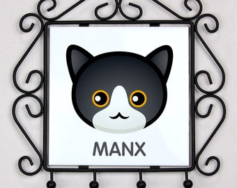 A key rack, hangers with Manx cat. A new collection with the cute Art-dog cat