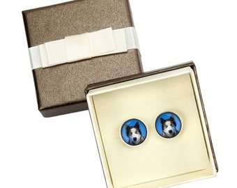 Siberian Husky. Cufflinks with box for dog lovers. Photo jewellery. Men's jewellery. Handmade