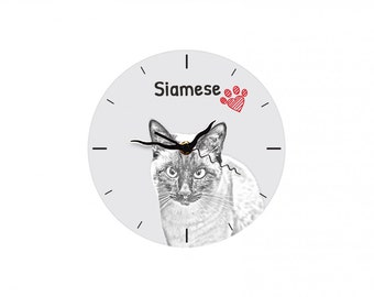 Siamese cat, Free standing MDF floor clock with an image of a cat.