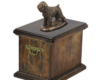 Urn for dog's ashes with a Black Russian Terrier statue, ART-DOG Cremation box, Custom urn.