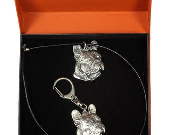 NEW, French Bulldog (right-oriented) , dog keyring and necklace in casket, PRESTIGE set, limited edition, ArtDog