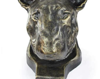 Urn for dog ashes - Bull Terrier statue. ArtDog Collection Cremation box, Custom urn.